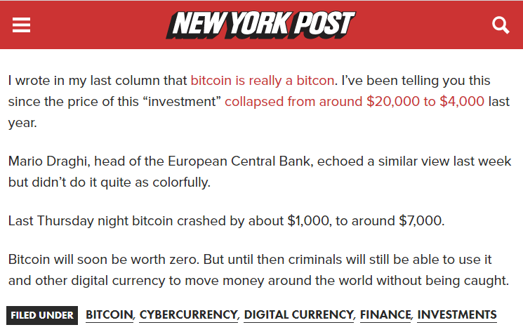 "bitcoin zero - Is ""New York Post"" Going to Zero, Allowing This Low-Quality Article About Bitcoin"